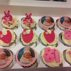 edible photo cupcakes baby girl