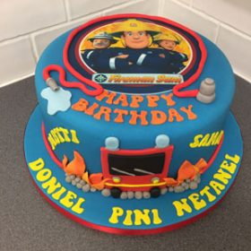 Fireman Sam photo on birthday cake