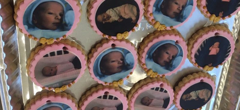 Edible print baby photo biscuits