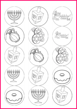 colour in Chanuka pictures