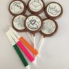 6 choc 'n doodle lollies plus 3 edible markers