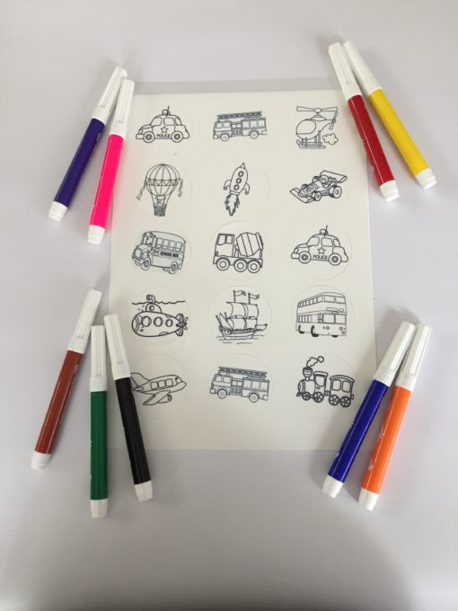 colour-in icing sheet plus 9 edible markers